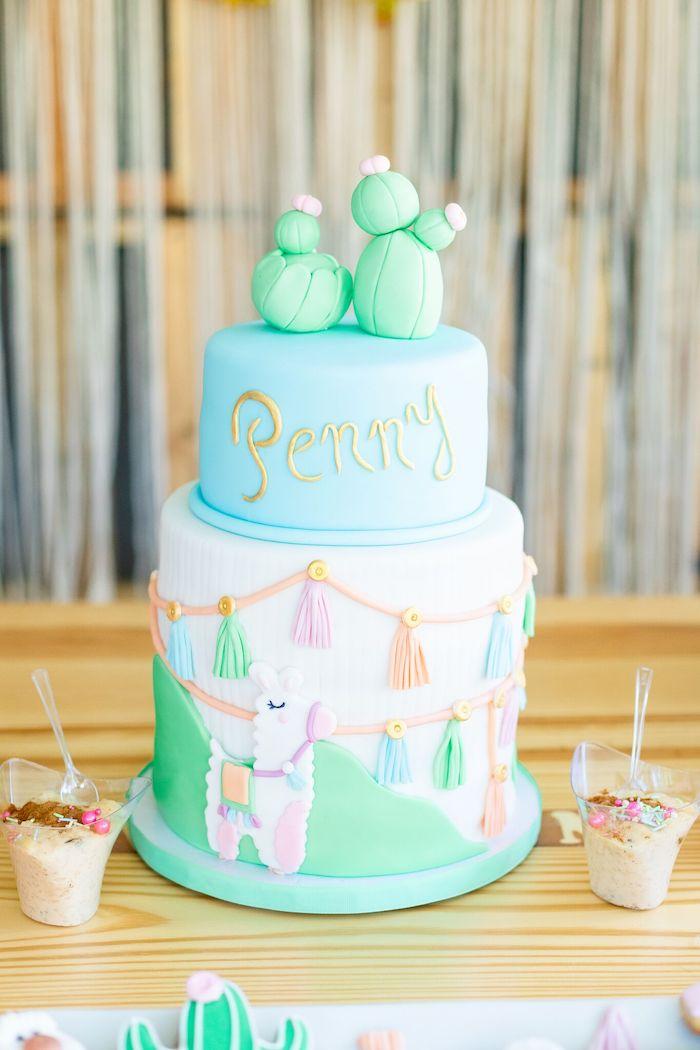 "Llama Themed Cake from a ""Whole Llama Fun"" 1st Birthday Party on Kara's Party Ideas | KarasPartyIdeas.com (21)"