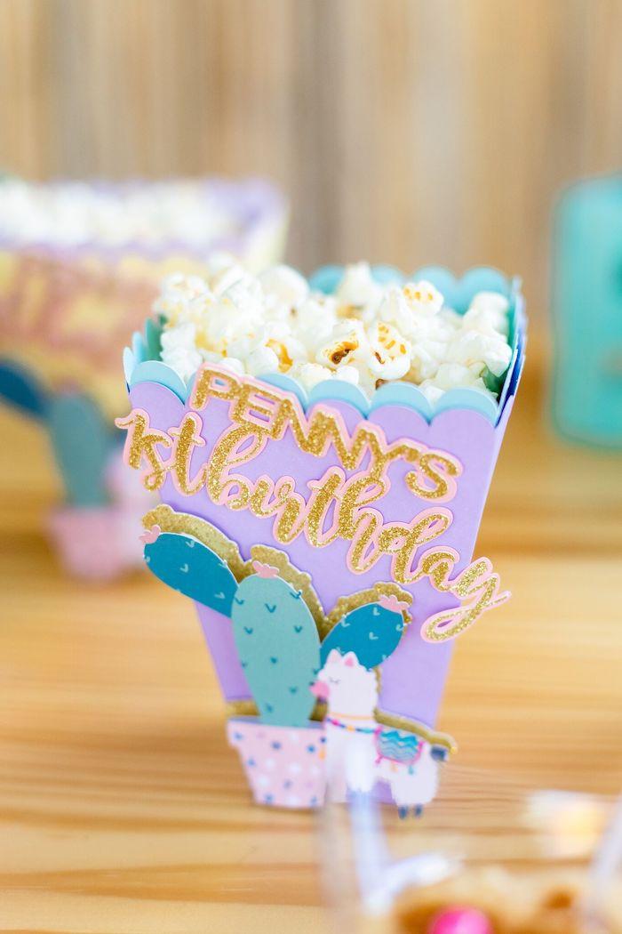 "Fiesta Popcorn Box from a ""Whole Llama Fun"" 1st Birthday Party on Kara's Party Ideas | KarasPartyIdeas.com (20)"