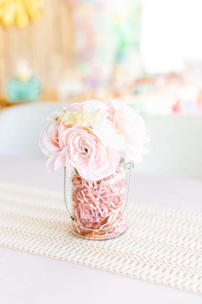 "Flower Centerpiece from a ""Whole Llama Fun"" 1st Birthday Party on Kara's Party Ideas | KarasPartyIdeas.com (19)"