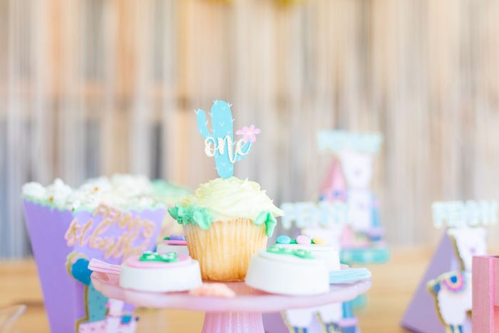 "Cactus Cupcake + Fiesta Oreos from a ""Whole Llama Fun"" 1st Birthday Party on Kara's Party Ideas | KarasPartyIdeas.com (17)"
