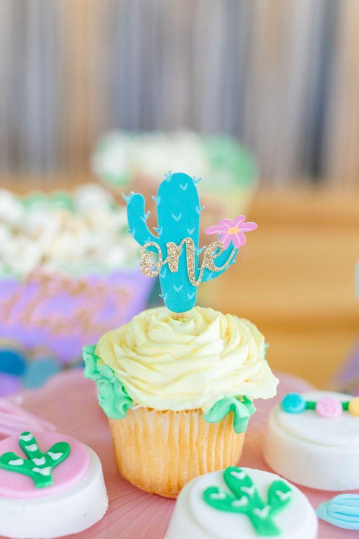 "Cactus Cupcake from a ""Whole Llama Fun"" 1st Birthday Party on Kara's Party Ideas | KarasPartyIdeas.com (14)"