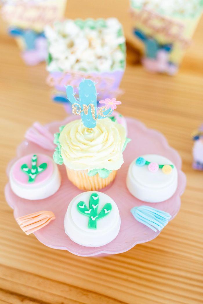 "Cactus Cupcake + Fiesta Oreos from a ""Whole Llama Fun"" 1st Birthday Party on Kara's Party Ideas | KarasPartyIdeas.com (12)"