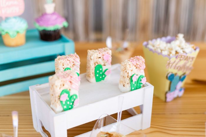 "Cactus Rice Krispie Treats from a ""Whole Llama Fun"" 1st Birthday Party on Kara's Party Ideas | KarasPartyIdeas.com (27)"
