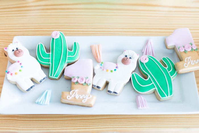 "Fiesta Cookies from a ""Whole Llama Fun"" 1st Birthday Party on Kara's Party Ideas | KarasPartyIdeas.com (25)"