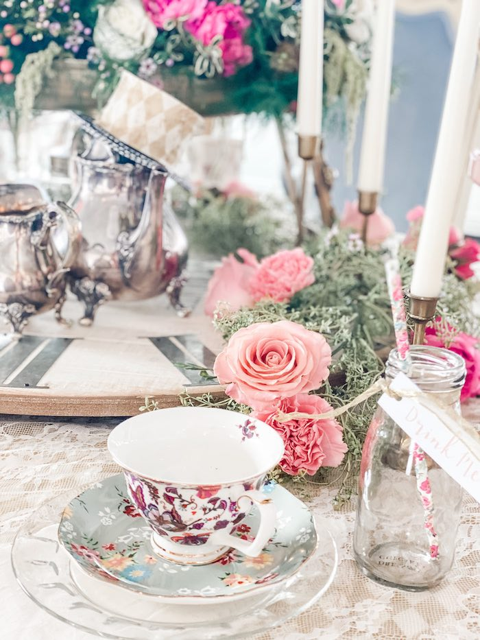 Tea Table Setting from an Alice in Wonderland Tea Party on Kara's Party Ideas | KarasPartyIdeas.com (16)