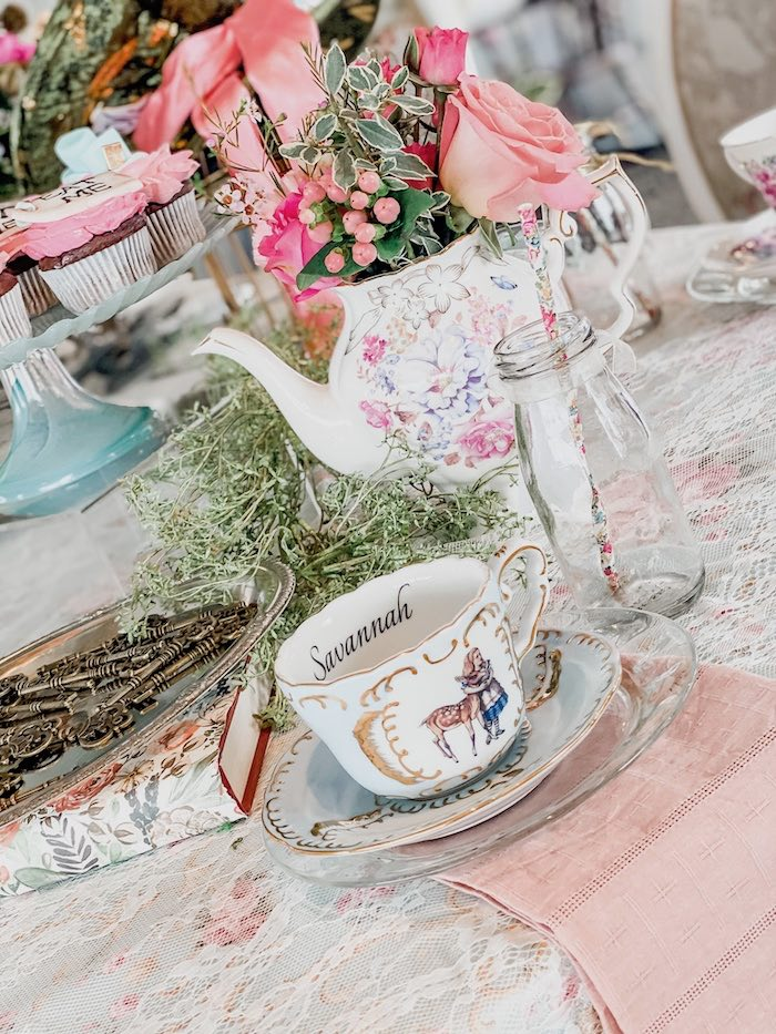 Tea Table Setting from an Alice in Wonderland Tea Party on Kara's Party Ideas | KarasPartyIdeas.com (8)