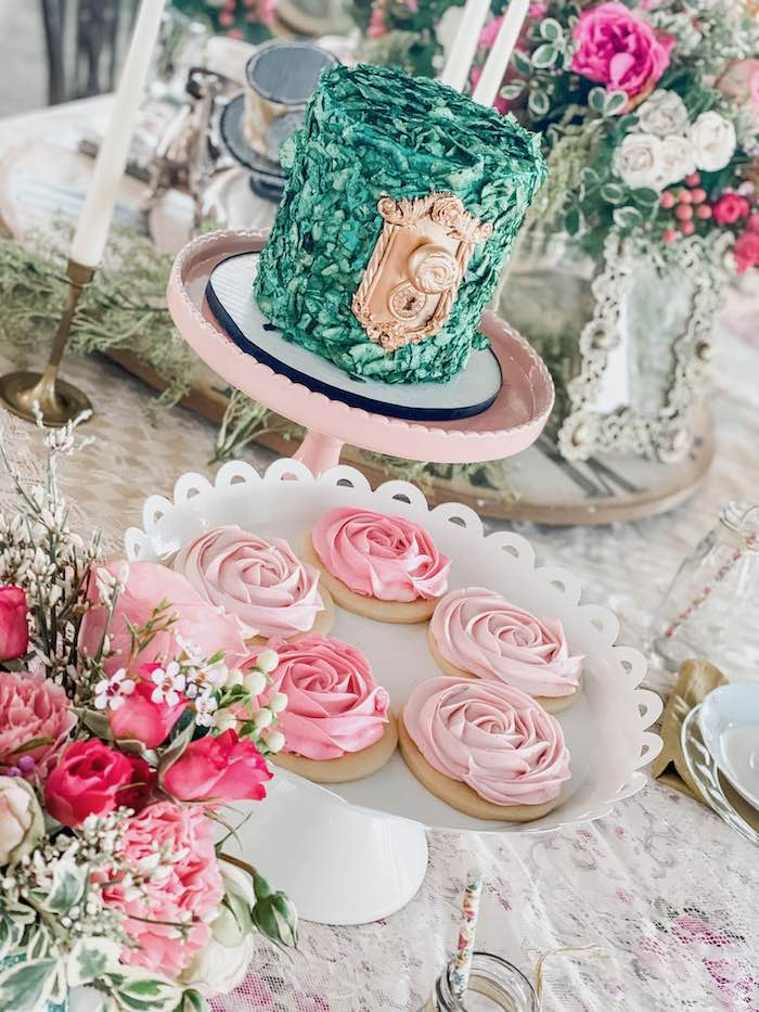 Alice in Wonderland Cake + Rose Cookies from an Alice in Wonderland Tea Party on Kara's Party Ideas | KarasPartyIdeas.com (25)