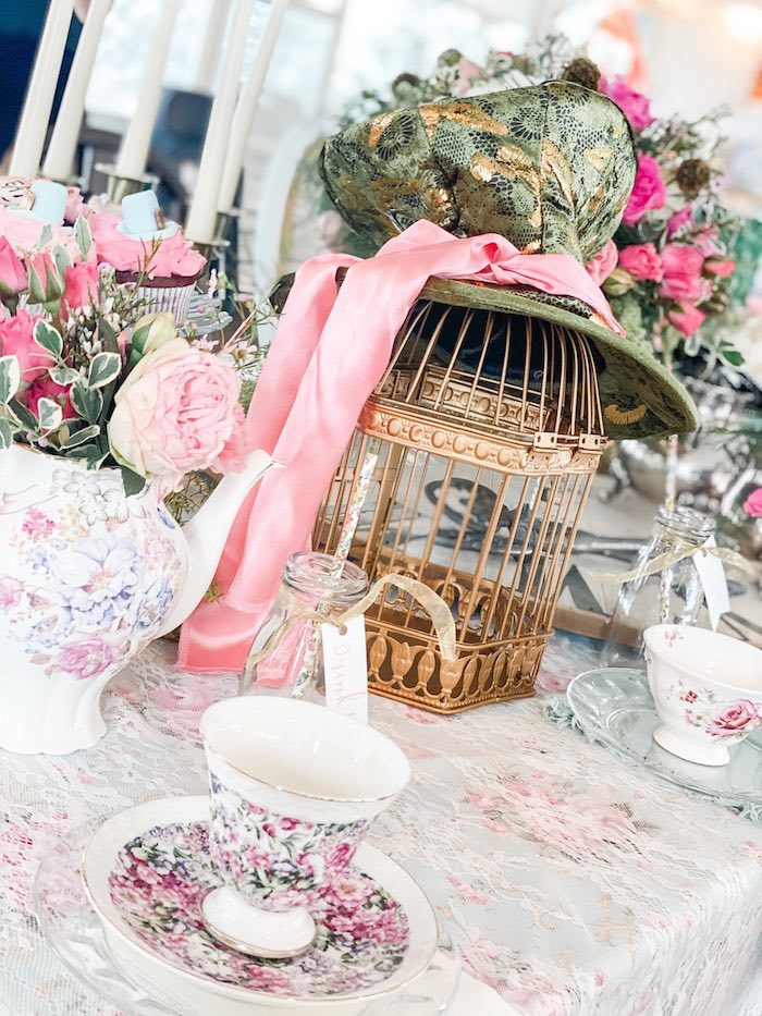 Girly Mad Hatter Hat + Cage Table Centerpiece from an Alice in Wonderland Tea Party on Kara's Party Ideas | KarasPartyIdeas.com (23)