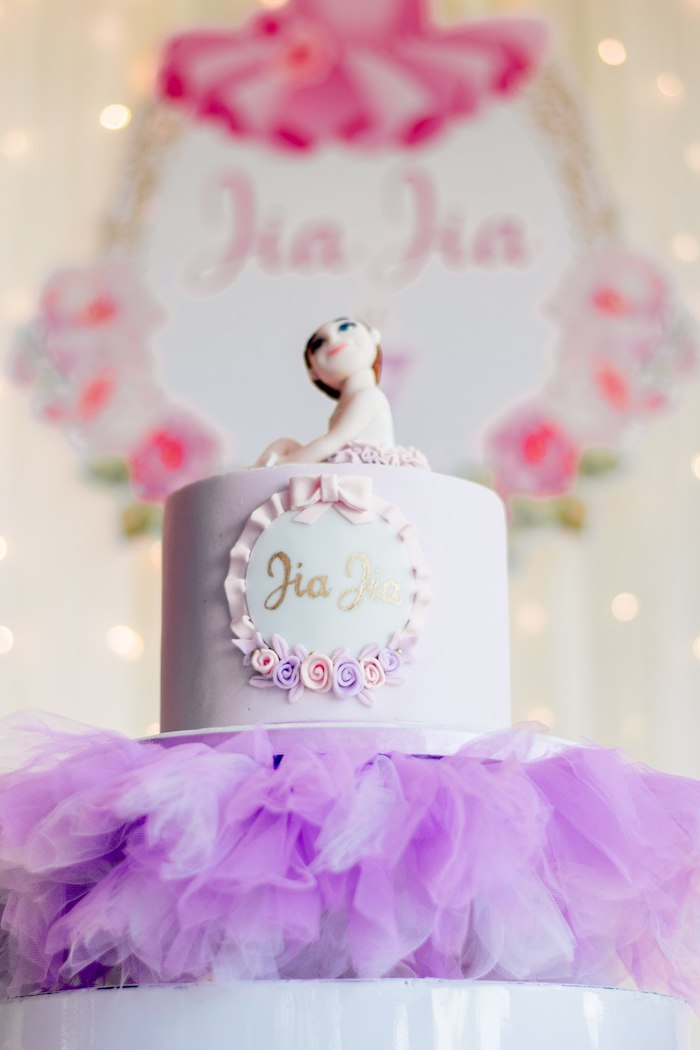 "Ballet Themed Birthday Cake from a Ballerina ""Let's Dance"" Birthday Party on Kara's Party Ideas | KarasPartyIdeas.com (12)"