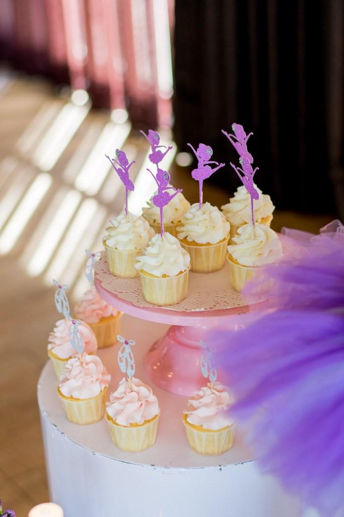 "Ballerina Cupcakes from a Ballerina ""Let's Dance"" Birthday Party on Kara's Party Ideas | KarasPartyIdeas.com (9)"