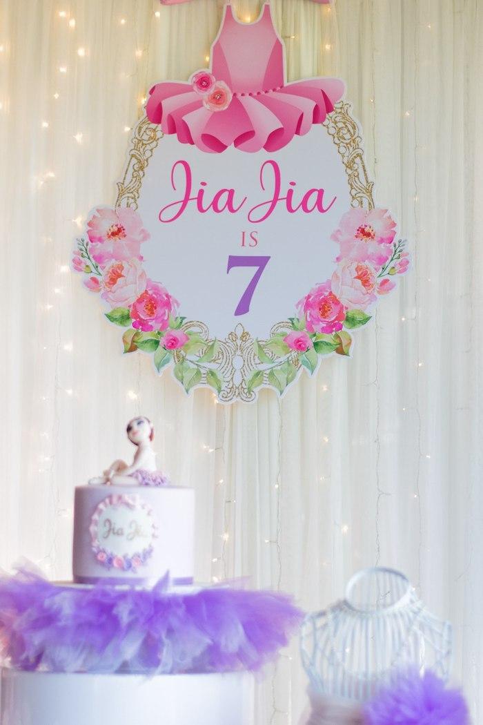 "Ballet Themed Birthday Cake from a Ballerina ""Let's Dance"" Birthday Party on Kara's Party Ideas | KarasPartyIdeas.com (8)"