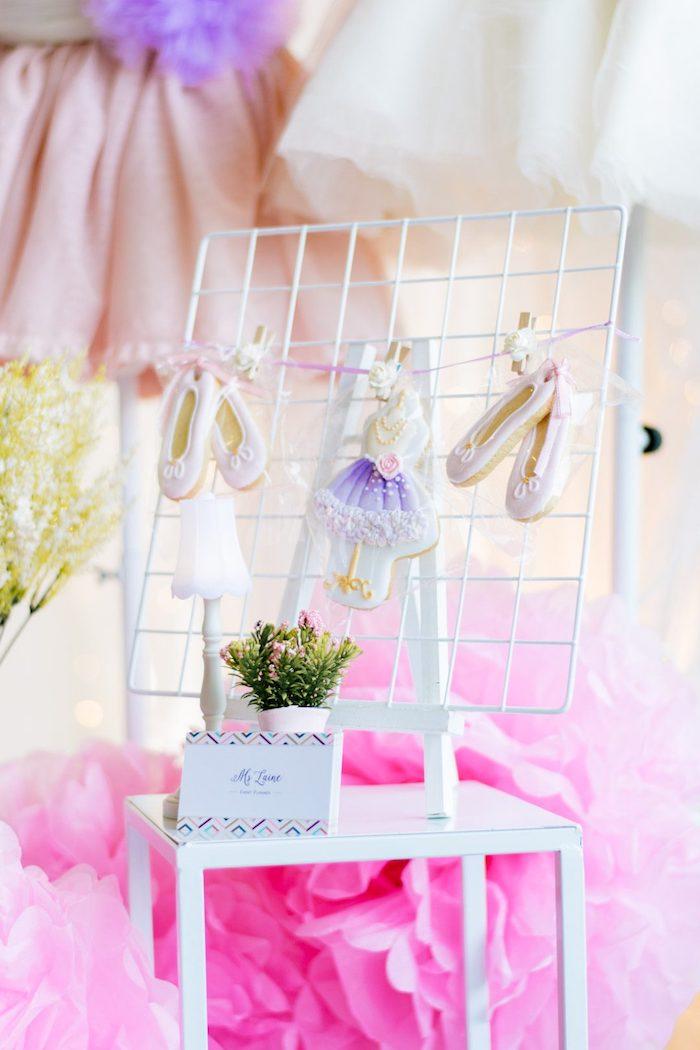 "Ballet Themed Sugar Cookies from a Ballerina ""Let's Dance"" Birthday Party on Kara's Party Ideas | KarasPartyIdeas.com (7)"