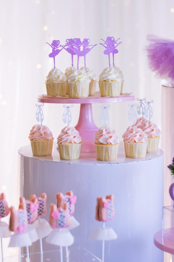 "Ballet Themed Cupcakes from a Ballerina ""Let's Dance"" Birthday Party on Kara's Party Ideas | KarasPartyIdeas.com (18)"