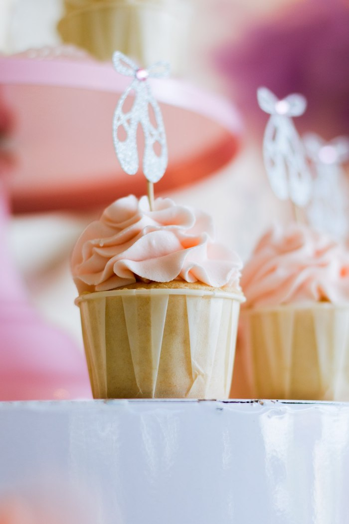 """Pink-iced Cupcakes with Ballet Slipper Toppers from a Ballerina """"Let's Dance"""" Birthday Party on Kara's Party Ideas 