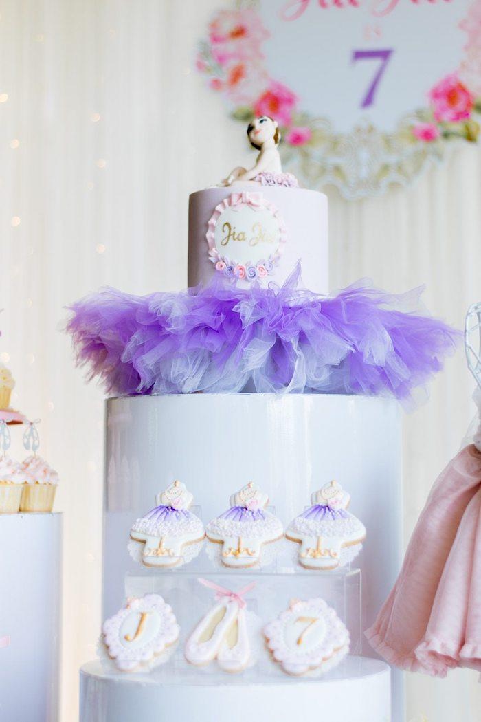 "Ballet Themed Birthday Cake + Cookies from a Ballerina ""Let's Dance"" Birthday Party on Kara's Party Ideas | KarasPartyIdeas.com (16)"