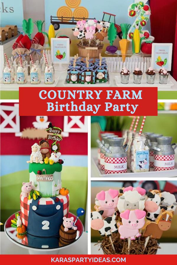 Country Farm Birthday Party via Kara's Party Ideas - KarasPartyIdeas.com