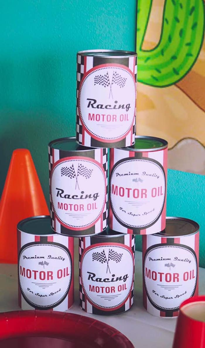 Motor Oil Favor Cans from a DIY Radiator Springs Cars Birthday Party on Kara's Party Ideas | KarasPartyIdeas.com (9)