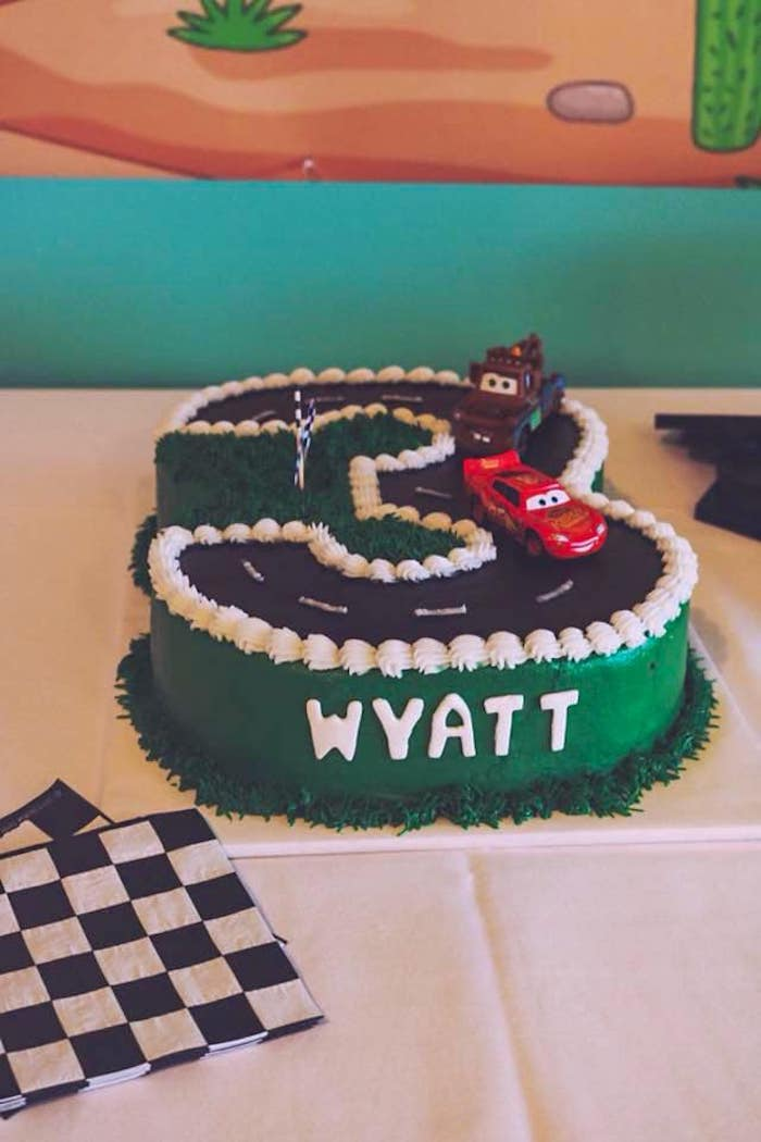 "Cars Themed Race Track ""3"" Cake from a DIY Radiator Springs Cars Birthday Party on Kara's Party Ideas 