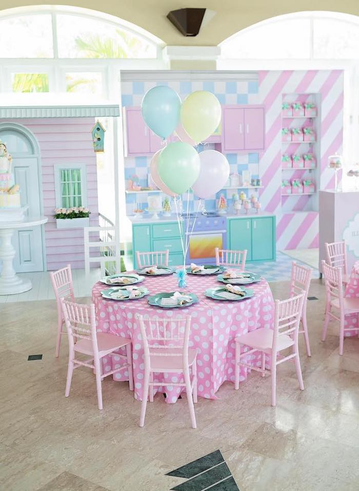 Pink Polka Dot Guest Table from a Dollhouse + Pastry Shop Birthday Party on Kara's Party Ideas | KarasPartyIdeas.com (25)