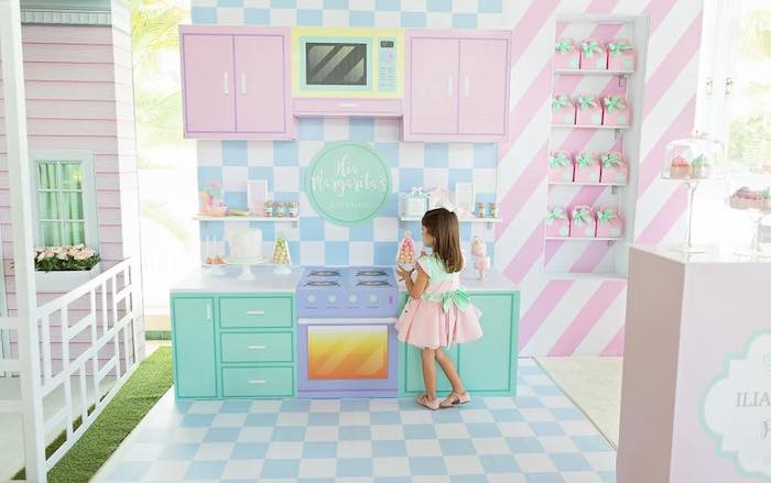 Pastry Shop Party Backdrop from a Dollhouse + Pastry Shop Birthday Party on Kara's Party Ideas | KarasPartyIdeas.com (23)