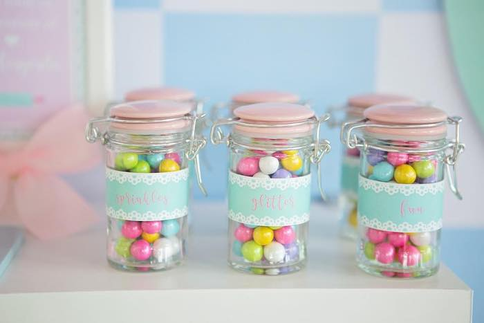 Snap-lid Candy Favor Jars filled with Sixlets from a Dollhouse + Pastry Shop Birthday Party on Kara's Party Ideas | KarasPartyIdeas.com (19)