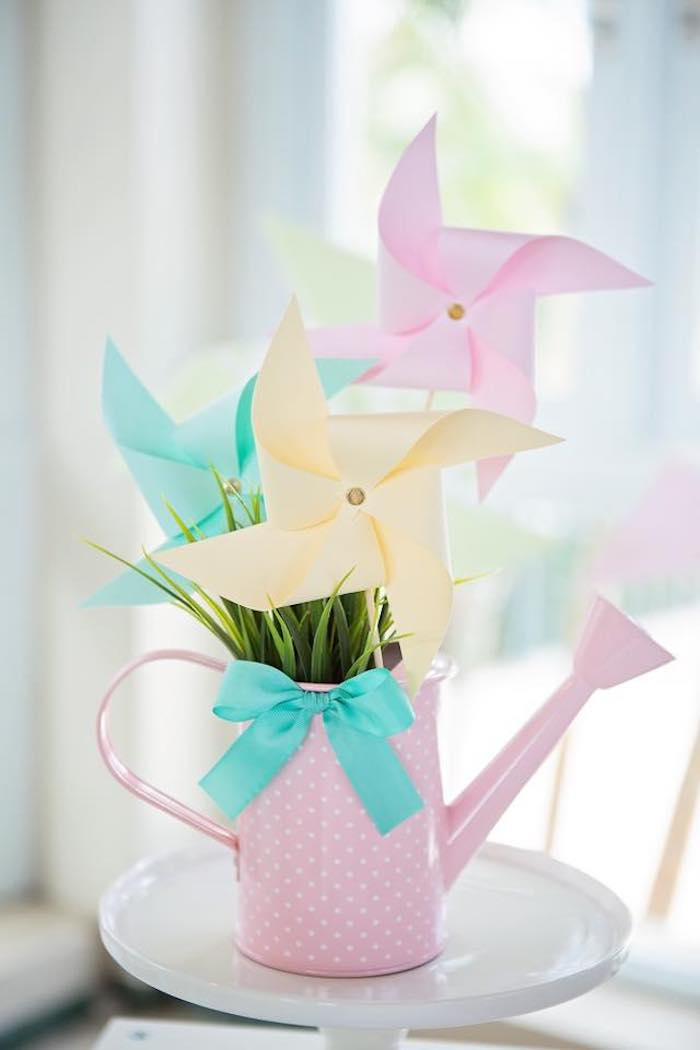 Pinwheel-filled Watering Can from a Dollhouse + Pastry Shop Birthday Party on Kara's Party Ideas | KarasPartyIdeas.com (12)