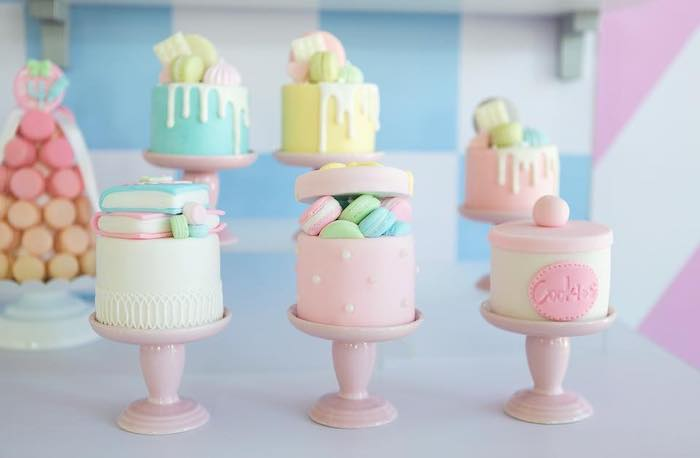 Mini Sweet Shop Themed Cakes from a Dollhouse + Pastry Shop Birthday Party on Kara's Party Ideas | KarasPartyIdeas.com (11)