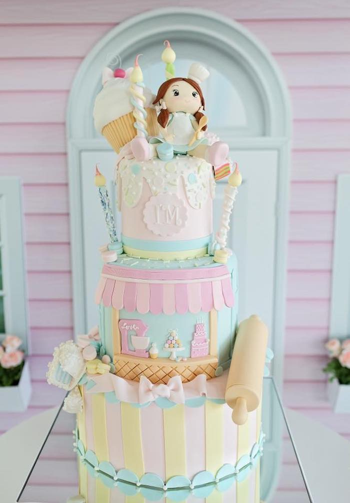 Pastry Shop Cake from a Dollhouse + Pastry Shop Birthday Party on Kara's Party Ideas | KarasPartyIdeas.com (9)