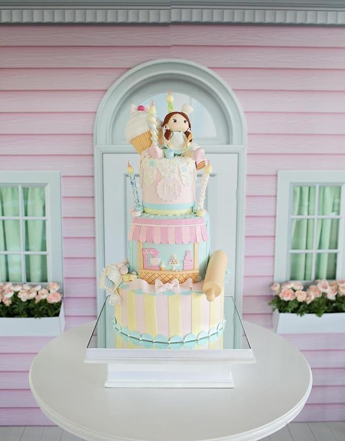 Adorable Pastry Shop Themed Birthday Cake from a Dollhouse + Pastry Shop Birthday Party on Kara's Party Ideas | KarasPartyIdeas.com (35)