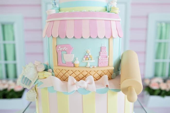 Adorable Pastry Shop Themed Birthday Cake from a Dollhouse + Pastry Shop Birthday Party on Kara's Party Ideas | KarasPartyIdeas.com (33)