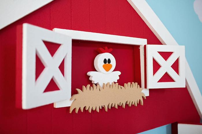 Barn Backdrop from a Farm Birthday Party on Kara's Party Ideas | KarasPartyIdeas.com (19)
