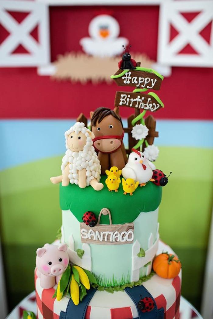 Farm Themed Cake from a Farm Birthday Party on Kara's Party Ideas | KarasPartyIdeas.com (18)