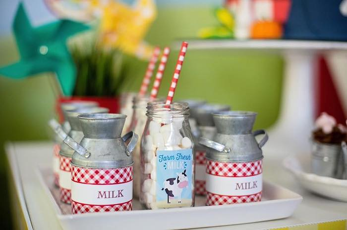 Milk Bottles and Jugs from a Farm Birthday Party on Kara's Party Ideas | KarasPartyIdeas.com (17)