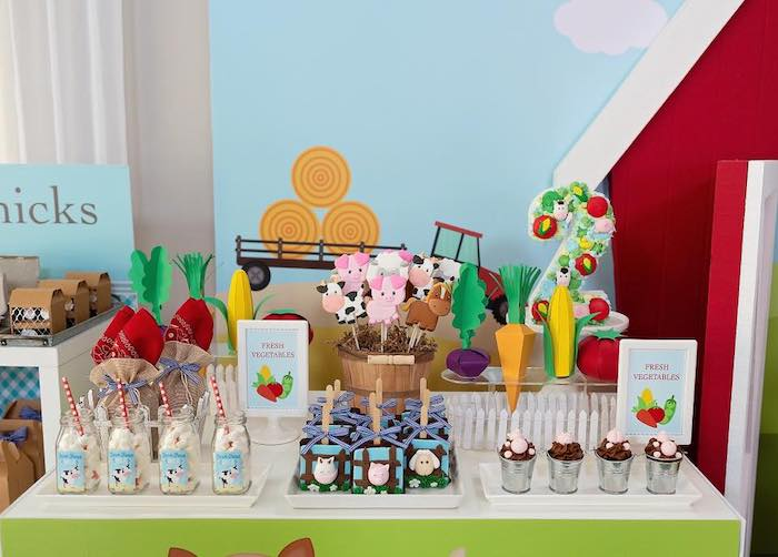 Farm Themed Dessert Table from a Farm Birthday Party on Kara's Party Ideas | KarasPartyIdeas.com (13)