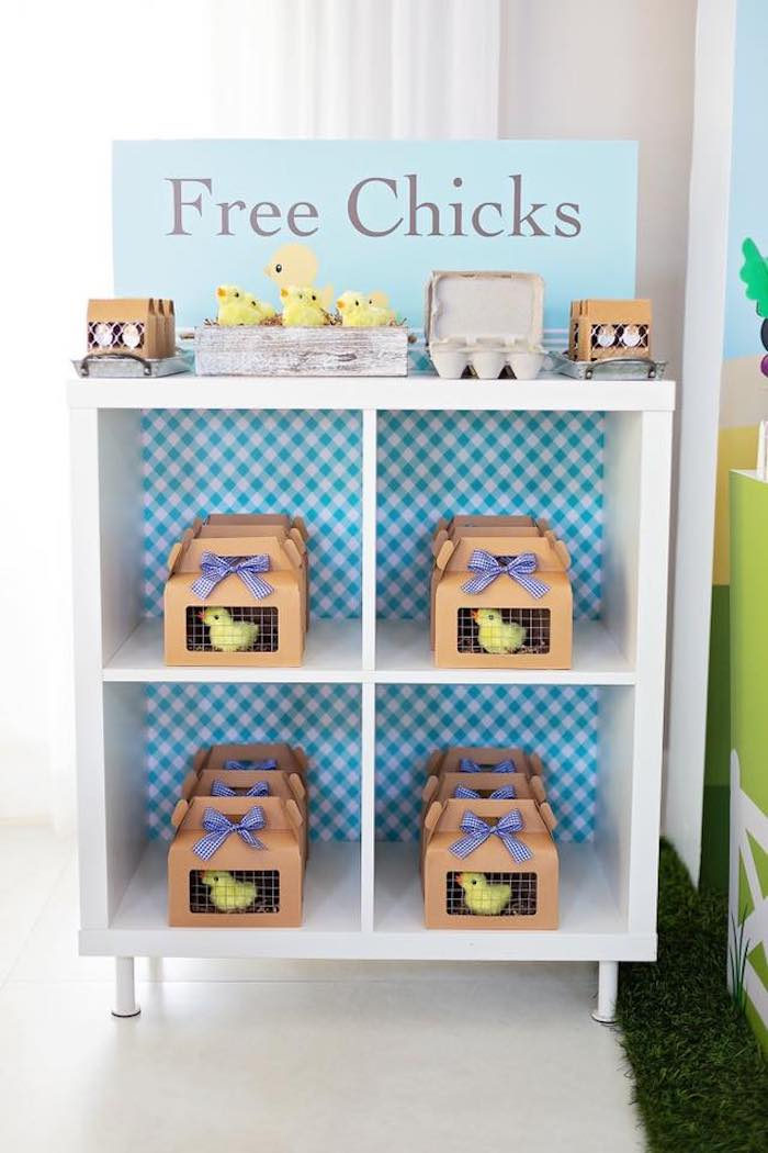 """Chick"" Favors in Cage Gable Boxes from a Farm Birthday Party on Kara's Party Ideas 