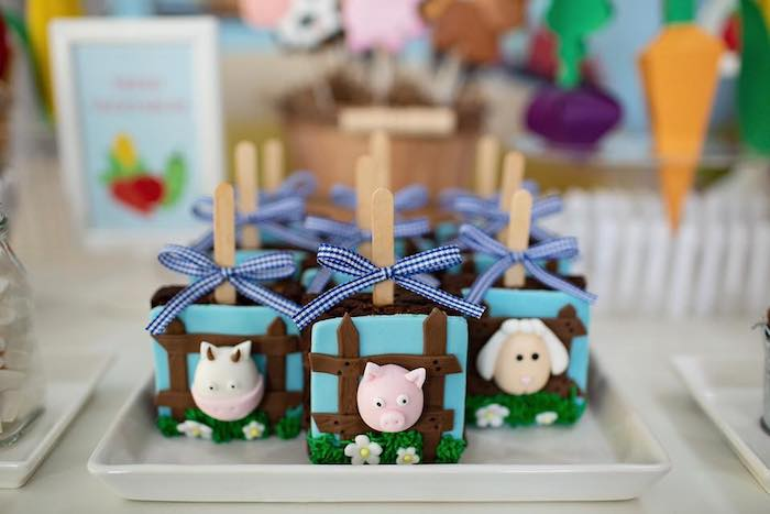 Farm Animal Brownie Pops from a Farm Birthday Party on Kara's Party Ideas | KarasPartyIdeas.com (29)