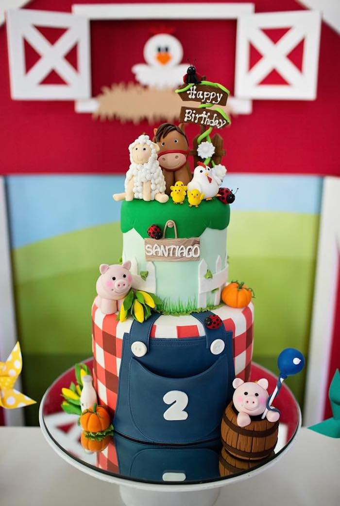 Farm Themed Cake from a Farm Birthday Party on Kara's Party Ideas | KarasPartyIdeas.com (8)