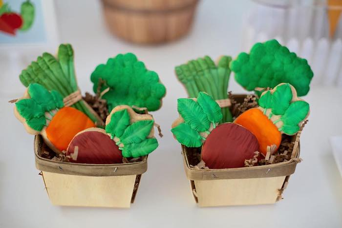 Garden Vegetable Cookies in Baskets from a Farm Birthday Party on Kara's Party Ideas | KarasPartyIdeas.com (23)