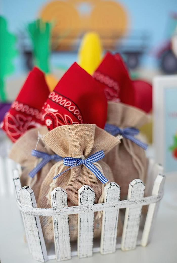 Burlap and Bandana Favor Sacks from a Farm Birthday Party on Kara's Party Ideas | KarasPartyIdeas.com (21)