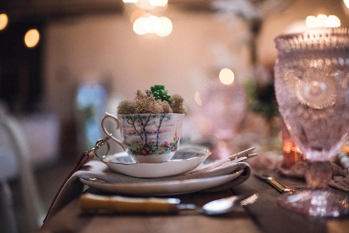 Tea Table Setting from a Floral High Tea Baby Shower on Kara's Party Ideas | KarasPartyIdeas.com (31)