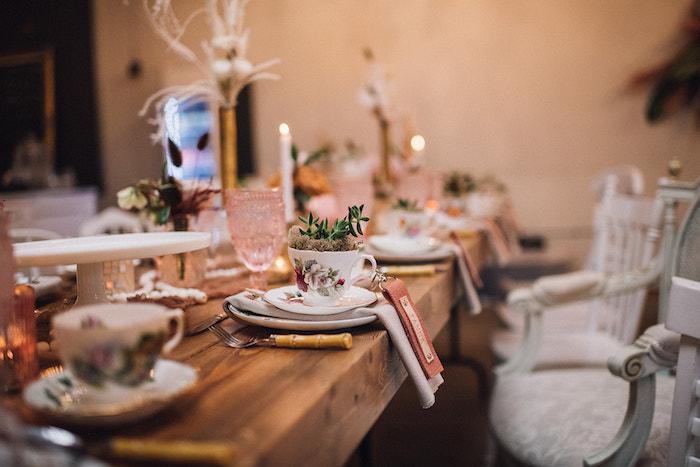 Tea Table Setting from a Floral High Tea Baby Shower on Kara's Party Ideas | KarasPartyIdeas.com (30)