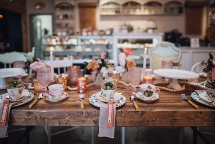 Tea Table from a Floral High Tea Baby Shower on Kara's Party Ideas | KarasPartyIdeas.com (18)