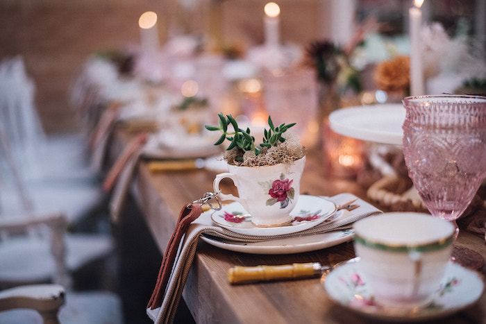 Tea Cup Plant from a Floral High Tea Baby Shower on Kara's Party Ideas | KarasPartyIdeas.com (16)