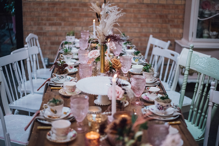 Guest Table from a Floral High Tea Baby Shower on Kara's Party Ideas | KarasPartyIdeas.com (14)