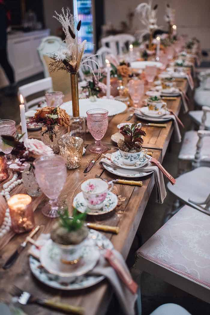 Floral Guest Tablescape from a Floral High Tea Baby Shower on Kara's Party Ideas | KarasPartyIdeas.com (11)