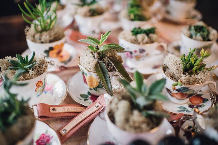 Tea Cup Plants from a Floral High Tea Baby Shower on Kara's Party Ideas | KarasPartyIdeas.com (6)