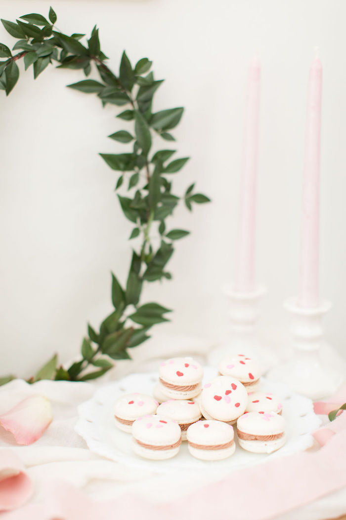Heart-sprinkled Macarons from a Galentine's Day Gathering Party on Kara's Party Ideas | KarasPartyIdeas.com (26)