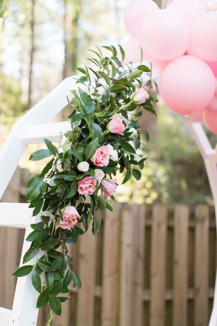 Pink Rose Leaf Garland from a Galentine's Day Gathering Party on Kara's Party Ideas | KarasPartyIdeas.com (19)