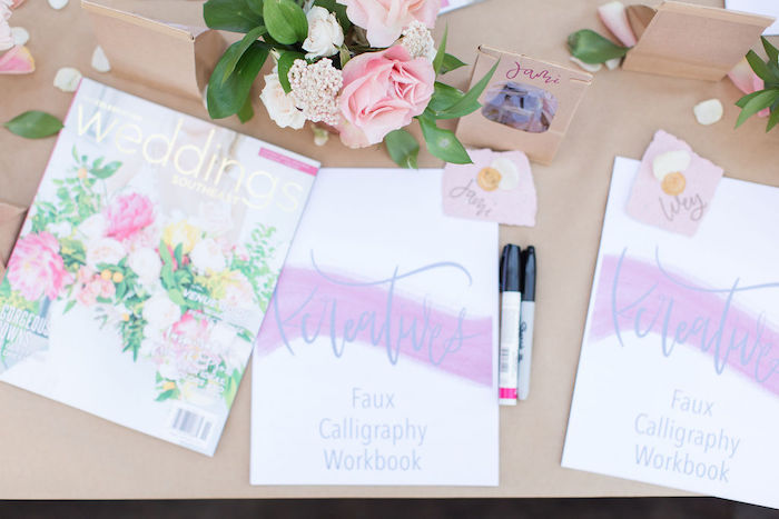 Personalized Calligraphy Workbook from a Galentine's Day Gathering Party on Kara's Party Ideas | KarasPartyIdeas.com (10)