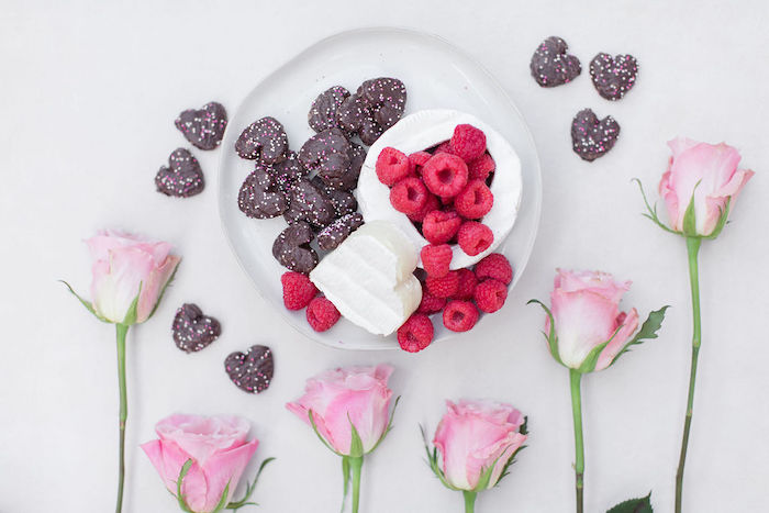 Heart Chocolates and Raspberries from a Galentine's Day Gathering Party on Kara's Party Ideas | KarasPartyIdeas.com (34)